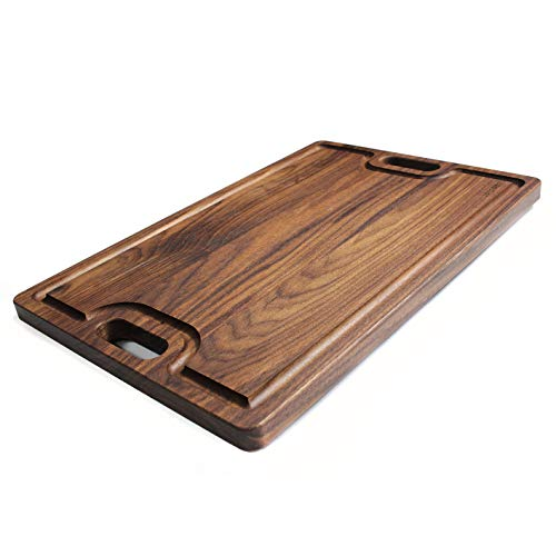 Large Walnut Wood Cutting Board By Refine Products - 18x12 Inch Juice Groove Handles on Both Sides Knife Friendly Chopping Carving Block Reversible and Can Double as a Serving Tray