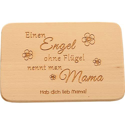 Spruchreif PREMIUM QUALITÄT 100% EMOTIONAL · Frühstücksbrettchen aus Holz mit Gravur · Brotbrett mit Sprüchen · Geschenk für die Mutter · Geburtstag (Einen Engel ohne Flügel nennt Man Mama)