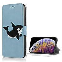 かわいいシャチ(シャチ)ロゴ iPhone Xs 適用 ケース 手帳型 iPhone X 適用 ケース 財布型 高級PUレザー カード収納 スタンド機能 スマホケース 耐衝撃 全面保護 携帯カバー