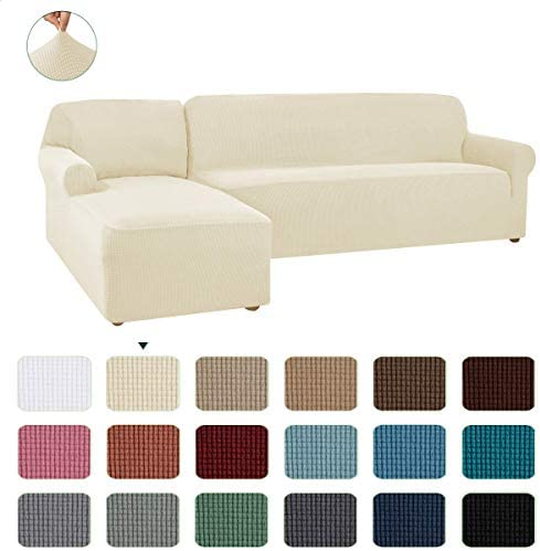 Best CHUN YI 2 Pieces L-Shaped Left Chaise Jacquard Polyester Stretch Fabric Sectional Sofa Slipcovers Du
