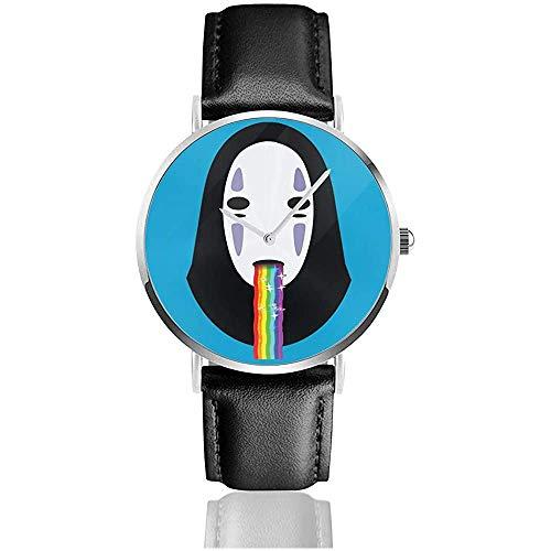 Spirited Away No Face Puking Regenbogen Snapchat Filter Uhren Quarz Lederuhr mit schwarzem Lederband