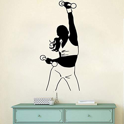 hetingyue muurtattoo, voor dames, meisjes, sport, gymnastiek, halter, ontvangst, vinyl kunstdruk
