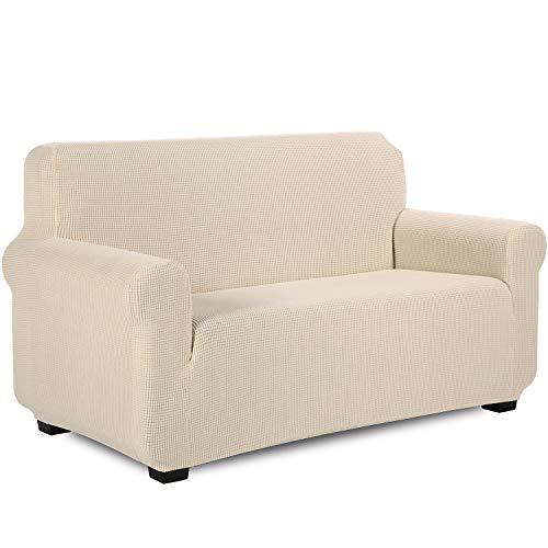 TIANSHU Sofabezug 2 sitzer, Stretch Spandex Couchbezug Sesselbezug Elastischer Antirutsch Stretchhusse Weich Stoff,Jacquard-Stretch-Sofabezug, Schonbezug für Sofa-Sofahalter(2 Sitzer,Beige)