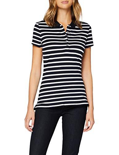 Tommy Hilfiger Short Sleeve Slim Polo Stripe Camisa, Breton STP/Desert Sky White, M para Mujer