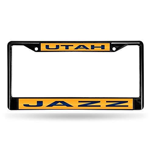 Rico Industries Unisex's NBA Utah Jazz Laser Cut Inlaid Standard Chrome License Plate Frame, Black, 6' x 12.25'