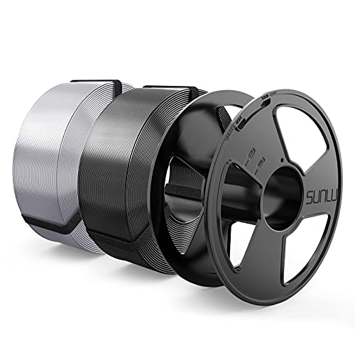 Silk Filamento PLA+ 1.75mm MasterSpool, SUNLU Shiny PLA Plus Filamento Impresora 3D, Reutilizable Spool, Filamento Refill es Fácil de Reemplazar, PLA+ 2KG, 1kg Spool, 2 Paquete, Negro+Plata