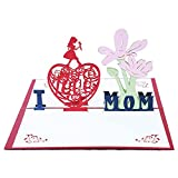 3D Muttertag Karte - Pop up Blumen Muttertagskarte Geburtstagskarte Papier Cut Grußkarte Glückwunschkarte Beste Muttertagsgeschenk Grußkarten für Mama, Mutter zur Geschenke, Dankeskarte, Geschenkkarte