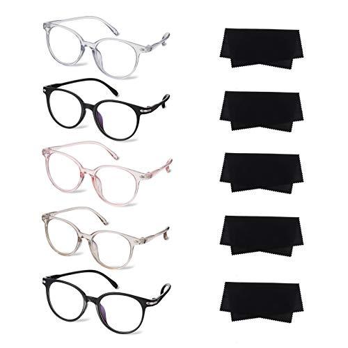 Auidy_6TXD 5 Pacco Occhiali da Lettura, Telaio Rotondo Vintage Occhiali a Molla di Qualità Occhiali Occhiali da Vista per Uomo Donna, Con Lenti Trasparenti e Panno per Occhiali