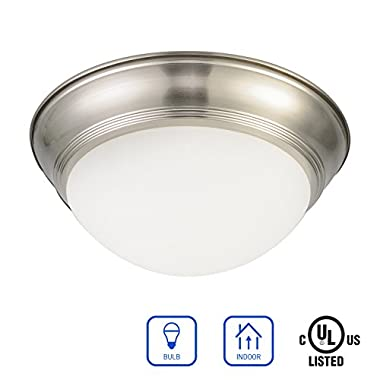 IN HOME 1-Light 12 Inch Diameter Glass Flush Mount Fixture FM01 Series, 1 x E26 60 Watt Bulb Socket, Brushed Nickel Finish with Frosted Glass Shade, UL Listed