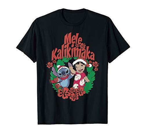 Disney Lilo & Stitch Christmas Mele Kalikimaka Wreath T-Shirt
