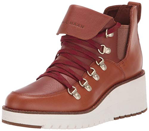 Cole Haan Women's Zerogrand WDG Hkr Wp Ankle Boot, Acorn Leather/Red, 5.5 B US