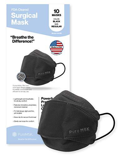 PURE-MSK Máscara desechable triple – fabricada en los Estados Unidos – Material ligero de fácil respiración – Tamaño adulto – Paquete de 10 – Negro