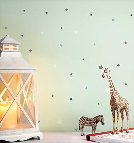NEWROOM Kindertapete türkis Sterne Sternchen Kinder Papiertapete Papier Kindertapete Kinderzimmer Babytapete Babyzimmer