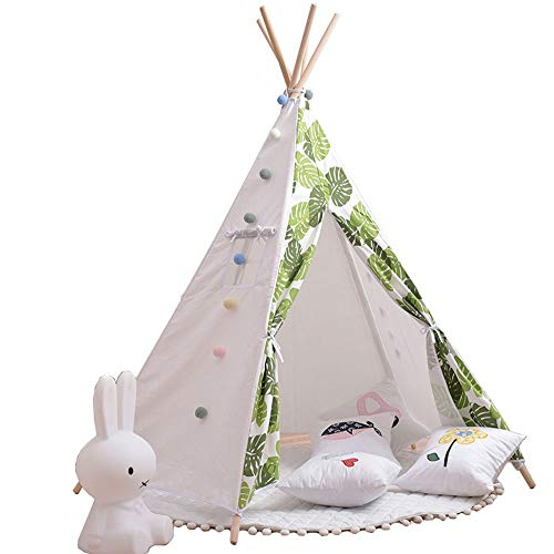 Big Shark Kids Teepee Tent Children Play Tent Raw Cotton Canvas Wooden Poles Thick Cushion Mat Banner Carry Case Indoor Outdoor
