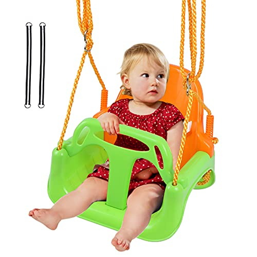 REDCAMP 3 in 1 Toddler Swing for Outside Tree, Sturdy Secure Plastic Outdoor Infants Baby Swing Seat for Swingset Playground Inside, Green