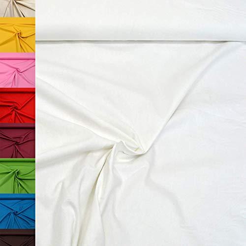 MAGAM-Stoffe Sophie Baumwollstoff Uni 100% Baumwolle Oeko-Tex Meterware 50cm (01. Weiß)