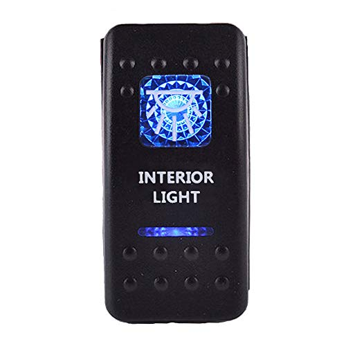 ESUPPORT Car Truck Bar 12V 20A Blue LED Interior Light Push Button Rocker Toggle Switch 5Pin