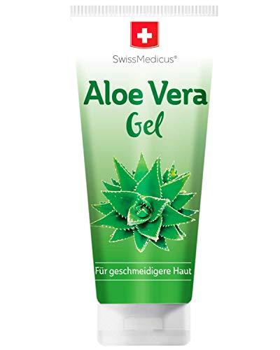 SwissMedicus Gel d'Aloe Vera - 200 ml - Naturel, Visage - Cheveux et corps - Idéal pour les réparations des coups de soleil - Éruptions cutanées - Extrait de jus 100% Aloe Vera, 200ml