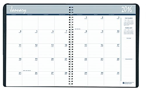 House of Doolittle Calendar Planner, Monthly, Black Cover, 8.5 x 11 Inches (HOD262002-16)