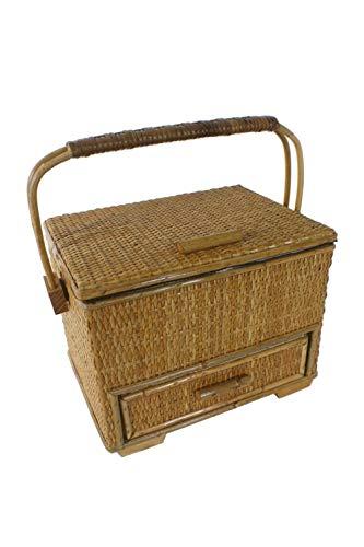 Costurero mimbre grande con asa y cajón color miel para accesorios cesto costura y bordado. Medidas: 20x26x20 cm.