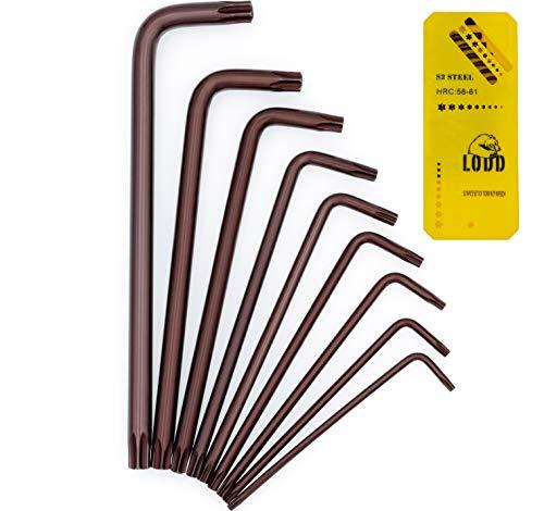 Jeu de 9 clés Torx Etoile Haute Résistance en Acier S2 anodisé bronze avec têtes percées, bras longs et boîte de rangement - LODD