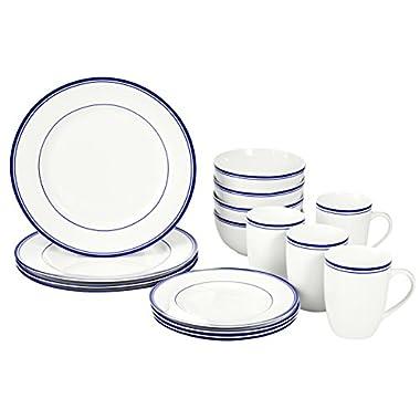 AmazonBasics 16-Piece Cafe Stripe Dinnerware Set, Service for 4 - Blue