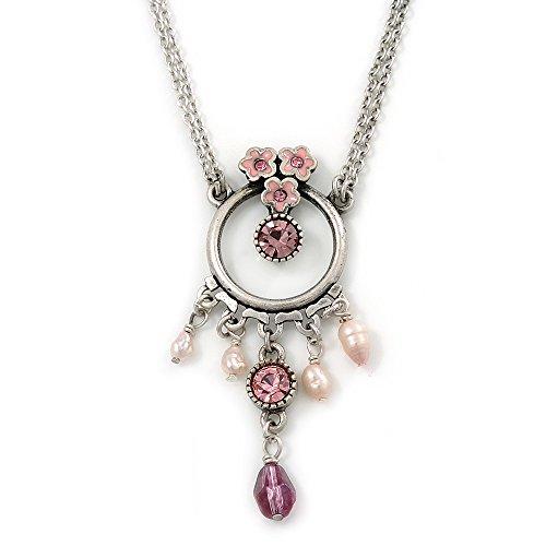 Smalto rosa, con cristalli, motivo floreale, con perle d'acqua dolce, in argento, con pendente di forma rotonda con doppia catena, 34 cm, lunghezza estensione 5 cm