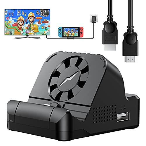 Younik Base de conexión para Switch de TV con 1,8m Cable HDMI 4K - Base de conexión portátil para Switch, estación de conexión para Switch, Ventilador de refrigeración y Puerto USB 3.0