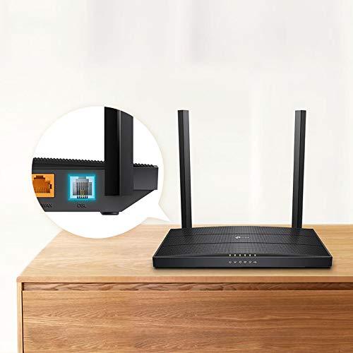 TP-Link Archer VR400 Modem Router Gigabit ADSL/VDSL, Faser, Wireless AC1200 Mbps, Dual Band 2.4 GHz + 5 GHz, USB 2.0 ((geeignet für Österreich/Schweiz, nicht in Deutschland einsetzbar)