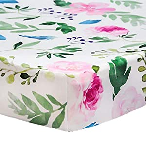 """HOMRITAR Crib Sheet for Girls, Super Soft Jersey Knit Crib Sheet with Floral Design Fitted Standard Crib and Toddle Mattresses, 28″x 52″x 9"""" Silky Baby Sheet, Bluch Watercolor"""