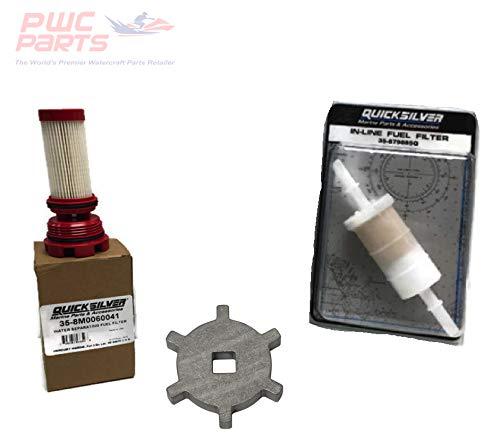PWC Parts Co Mercury Verado Quicksilver Fuel Filter Kit w/Removal/Install Tool & in-Line Filter for All VERADO L4-L6 FITS VERADO L4/L6 Models - 135/150/175/200/225/250/275/300/350/400HP