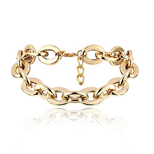 guodong Punk Exaggerated Heavy Metal Big Thick Bracelet Necklace Suit Women Goth Fashion Night Club Jewelry Female Choker Bracelet