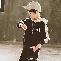 スポーツプルオーバープラスカシミヤクールフード付きカジュアルスウェットシャツ zhaojing (Color : Black, Size : 150)