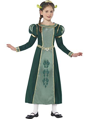 Smiffys Kinder Shrek Prinzessin Fiona Kostüm, Kleid, Haarband mit Diadem und Ohren, Shrek, Größe: M, 20491