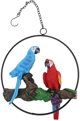 JS&Walk Resin Hanging Parrot Bird Ornament Statue, Like a Real Parrot Parrot Model Garden Figurine with Iron Ring for…