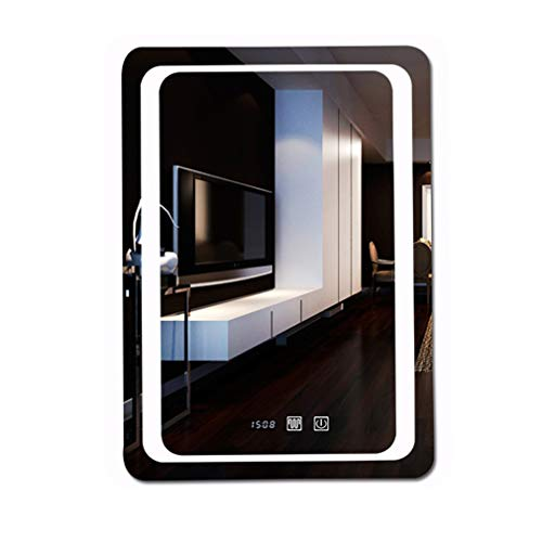 WDXLT Inteligente Montaje En Pared LED Espejo,Rectángulo Anti-Niebla Decoración Espejo Maquillaje,Pantalla Táctil Retirable Espejo Cosmético A 80x100cm (31x39inch)