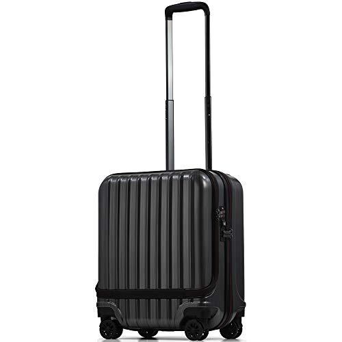 【PROEVO】スーツケース 機内持ち込み フロントオープン ストッパー付き サスペンション 8輪 機内持込 【AVANT】 ダブルキャスター キャリーケース キャリーバッグ 前ポケット 軽量 PCホルダー (SS-37L-スクラッチ/ガンメタリック(ma