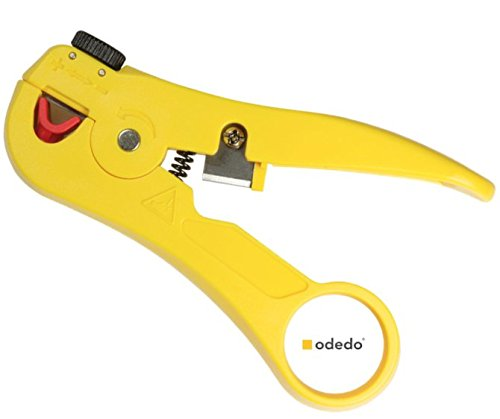 odedo® Abisolierzange mit Kabelschneider für Netzwerk-Kabel, Ethernet-Kabel, Antennenkabel Koaxial, Abisolierer mit Cutter, Abisolier Zange Werkzeug, Networking Cable Stripper with Cutter