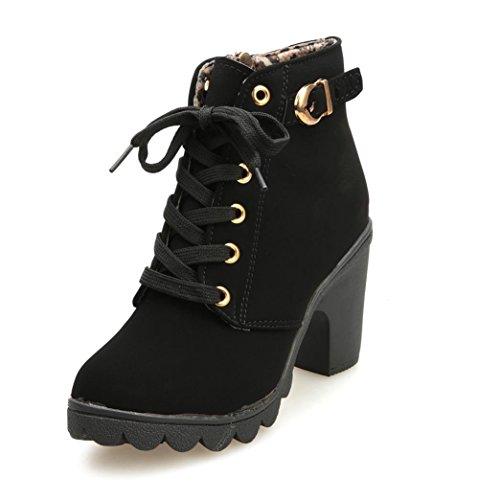 Zapatos de Mujer Botines Zapatos Casuales de Mujer Martín Botas Señoras Moda Otoño Invierno Tacón Alto Lace Up Hebilla Plataforma Zapatos LMMVP (35, Negro) (Ropa)
