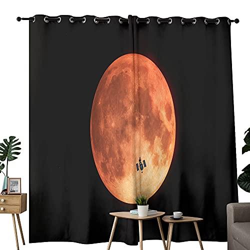 Super Moon - Cortinas de dormitorio con ojales de poliéster grueso con aislamiento térmico para ventanas para sala de estar/dormitorio de 100 x 96 pulgadas