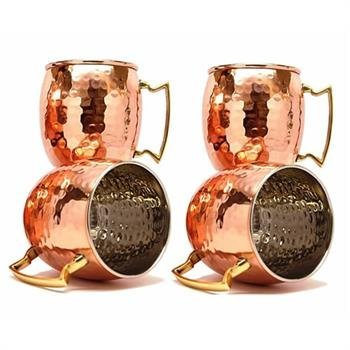 Zap Impex Pure Copper Lined Brass Handle Nickel Hammered Moscow Mule Mugs 16 Ounce Set of 4