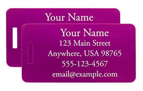 Two Custom Engraved Aluminum Luggage Tags (Purple)