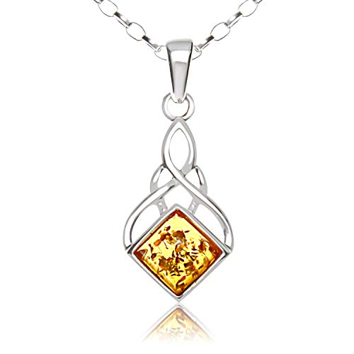 Alexander Castle Sterling Silver and Amber Celtic Pendant Necklace with 18' Chain and gift box. Great woman's gift for Christmas or Birthday's