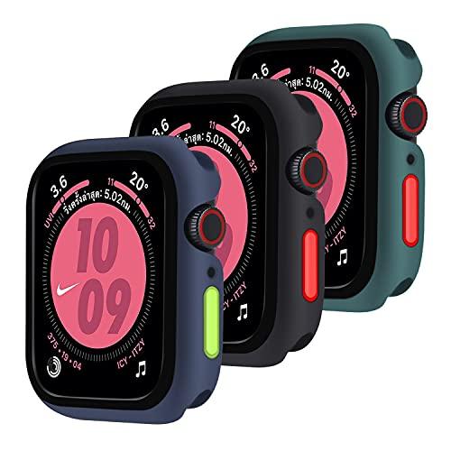 Qianyou [3 Pezzi] Cover Silicone per Apple Watch 44mm Series 6/SE/5/4, TPU Custodia Protettiva con Bottoni Rimovibili Gel AntiGraffio Ultra Sottile Bumper Protettivo per iWatch 44mm (Blu-Nero-Verde)