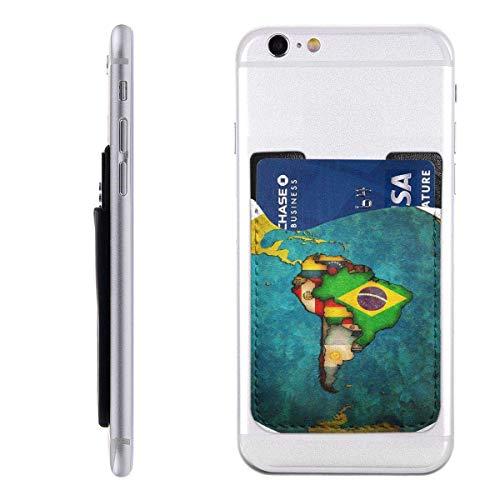 Mobiele kaart Portemonnee Portemonnee, Pocket ID Credit Card SleeveAmerica Kaart van Zuid-Amerikaanse Landen Op Over Wit