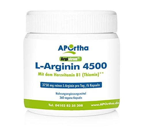 APOrtha Argiviron | L-Arginin 4500 hochdosiert + Herzvitamin Vitamin B1 |360 vegane Kapseln