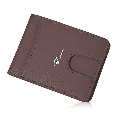 Bienna Herren-Geldbörse, echtes Leder, Brieftasche, Kartenetui, schmal, minimalistisch, Fronttasche mit Ausweisfenster, für Männer und Frauen, Kaffeebraun