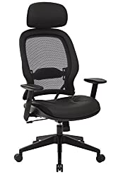 SPACE Seating Professional AirGrid Dark Back and Padded Black Eco Leather Seat