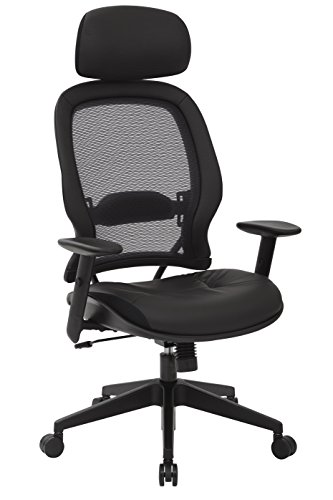 SPACE Seating Professional AirGrid Dark Back and Padded Black Eco Leather Seat, 2-to-1 Synchro Tilt Control, Adjustable Arms and Tilt Tension with Nylon Base Executives Chair with Adjustable Headrest Eco Leather Managers Chair