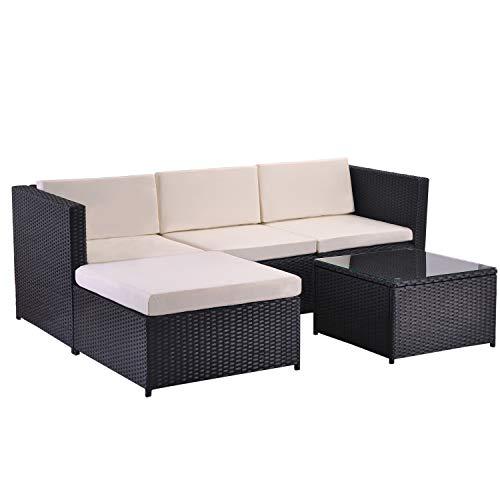 ModernLuxe Polyrattan Lounge Sitzgruppe Couch Sofagarnitur, Lounge Gartenmöbel, Ecksofa, Couchgarnitur mit Sitz- und Rückenkissen, Lounge-Tisch mit Glasplatte (Schwarz)